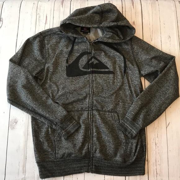 41645220ee Quicksilver Men's Full Zip Gray Hooded Sweatshirt